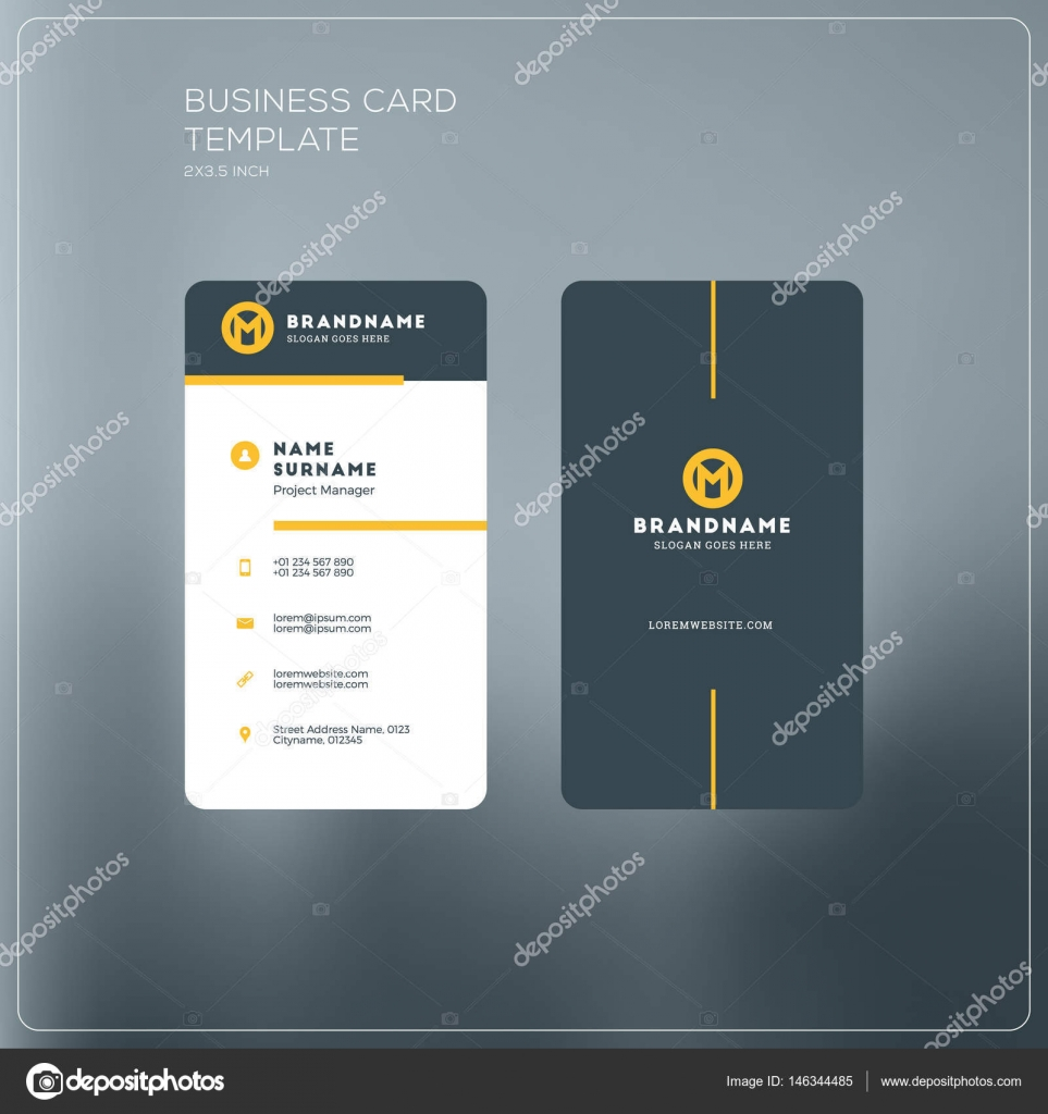 Vertical business card print template personal business card with vertical business card print template personal business card with company logo black and yellow flashek Gallery
