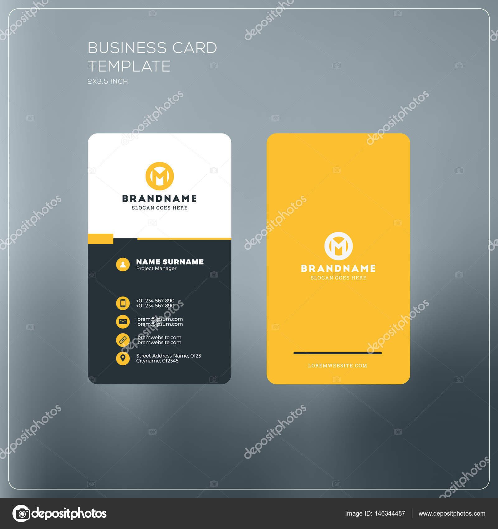 Vertical business card print template personal business card with vertical business card print template personal business card with company logo black and yellow fbccfo