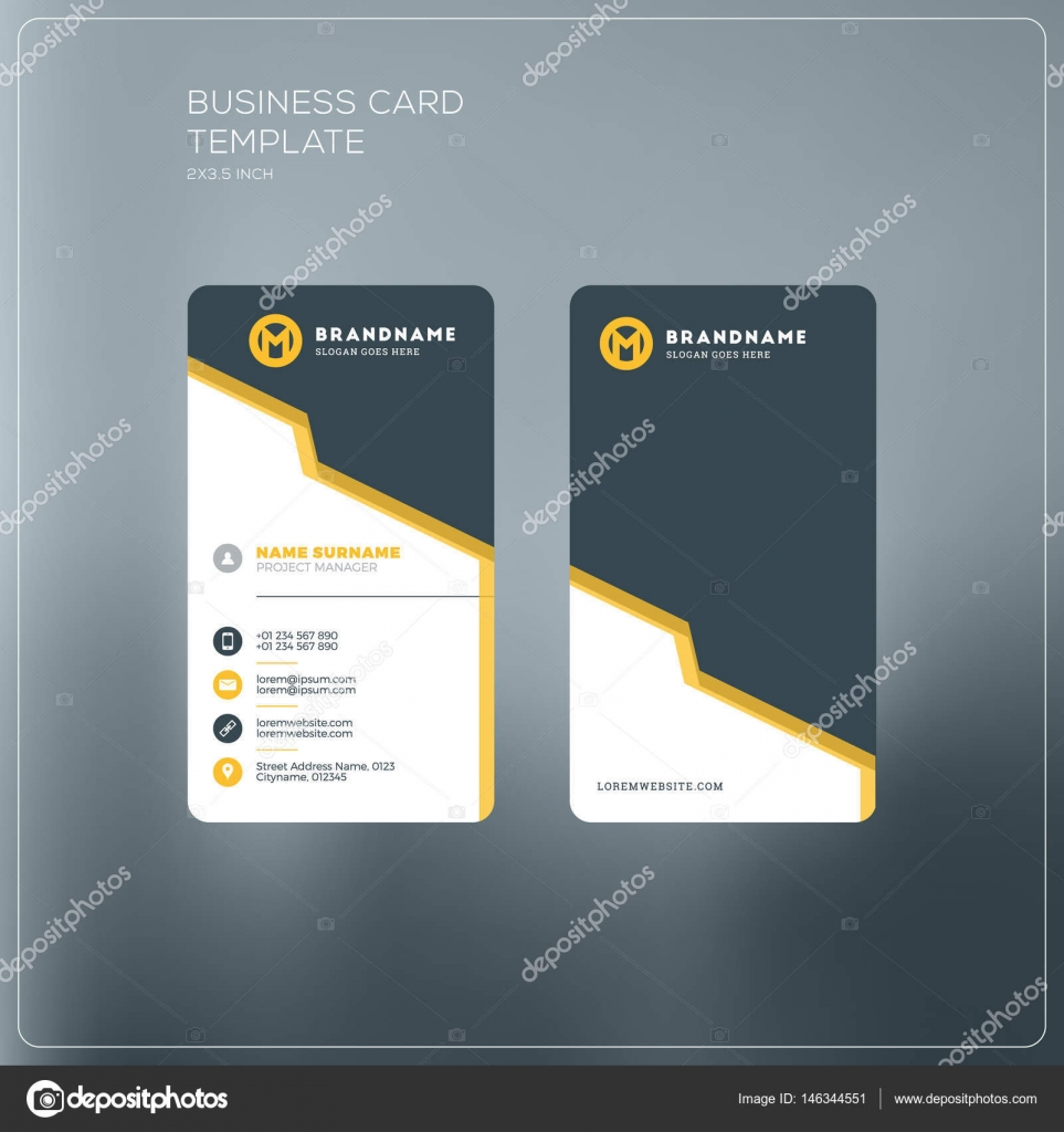 Vertical business card print template personal business card with vertical business card print template personal business card with company logo black and yellow friedricerecipe Image collections