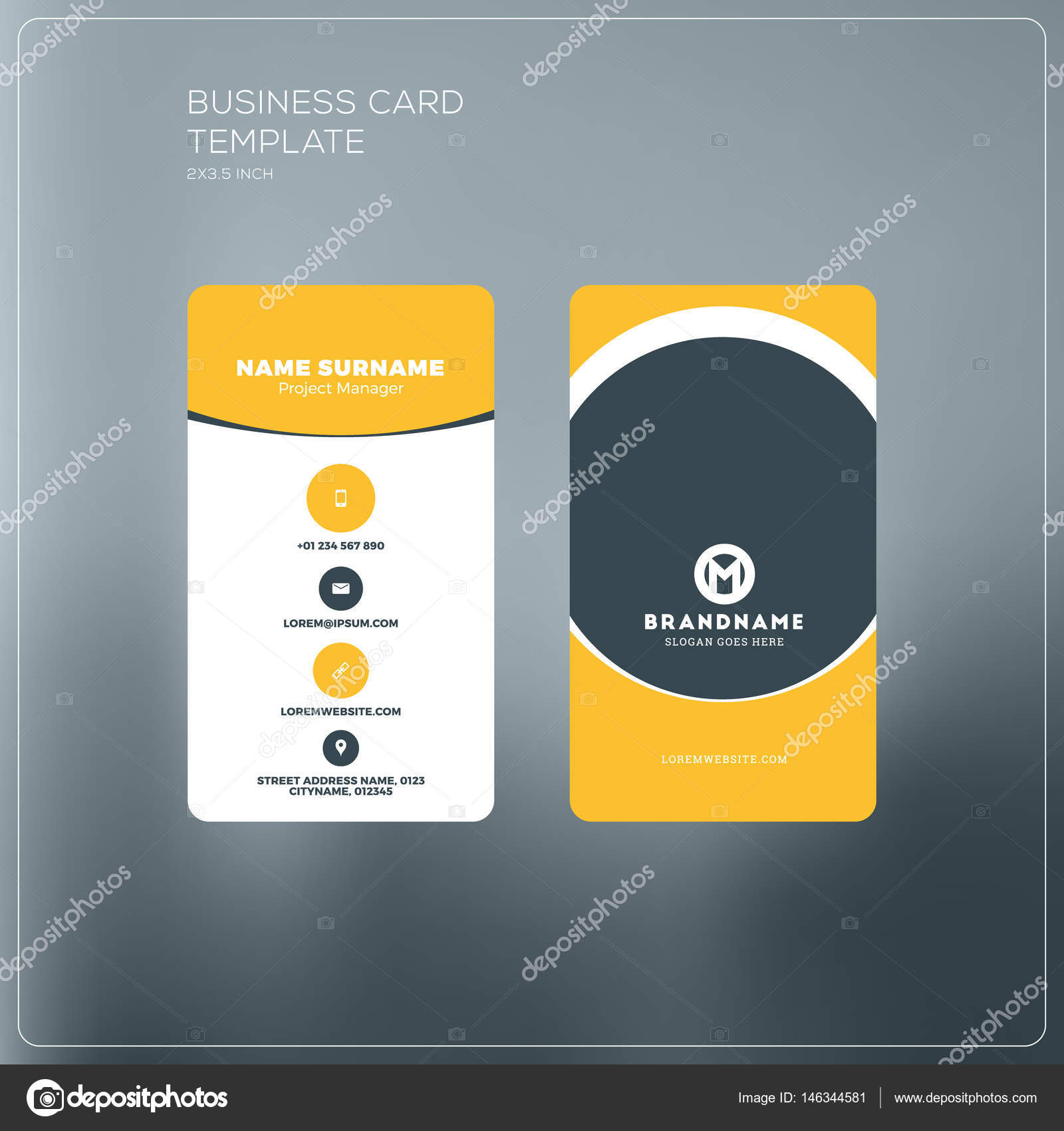 Vertical business card print template personal business card with vertical business card print template personal business card with company logo black and yellow cheaphphosting Image collections