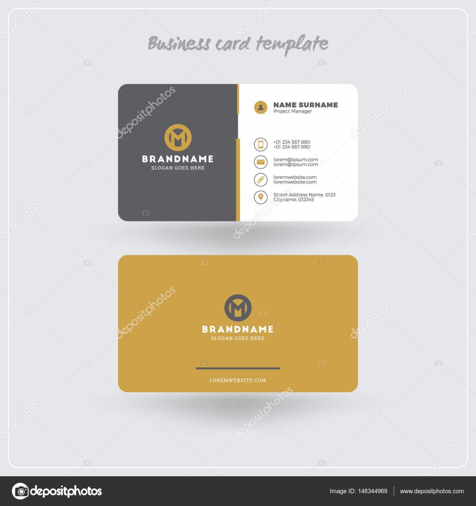 Golden and gray business card print template personal visiting card golden and gray business card print template personal visiting card with company logo clean flat design rounded corners vector illustration friedricerecipe Choice Image