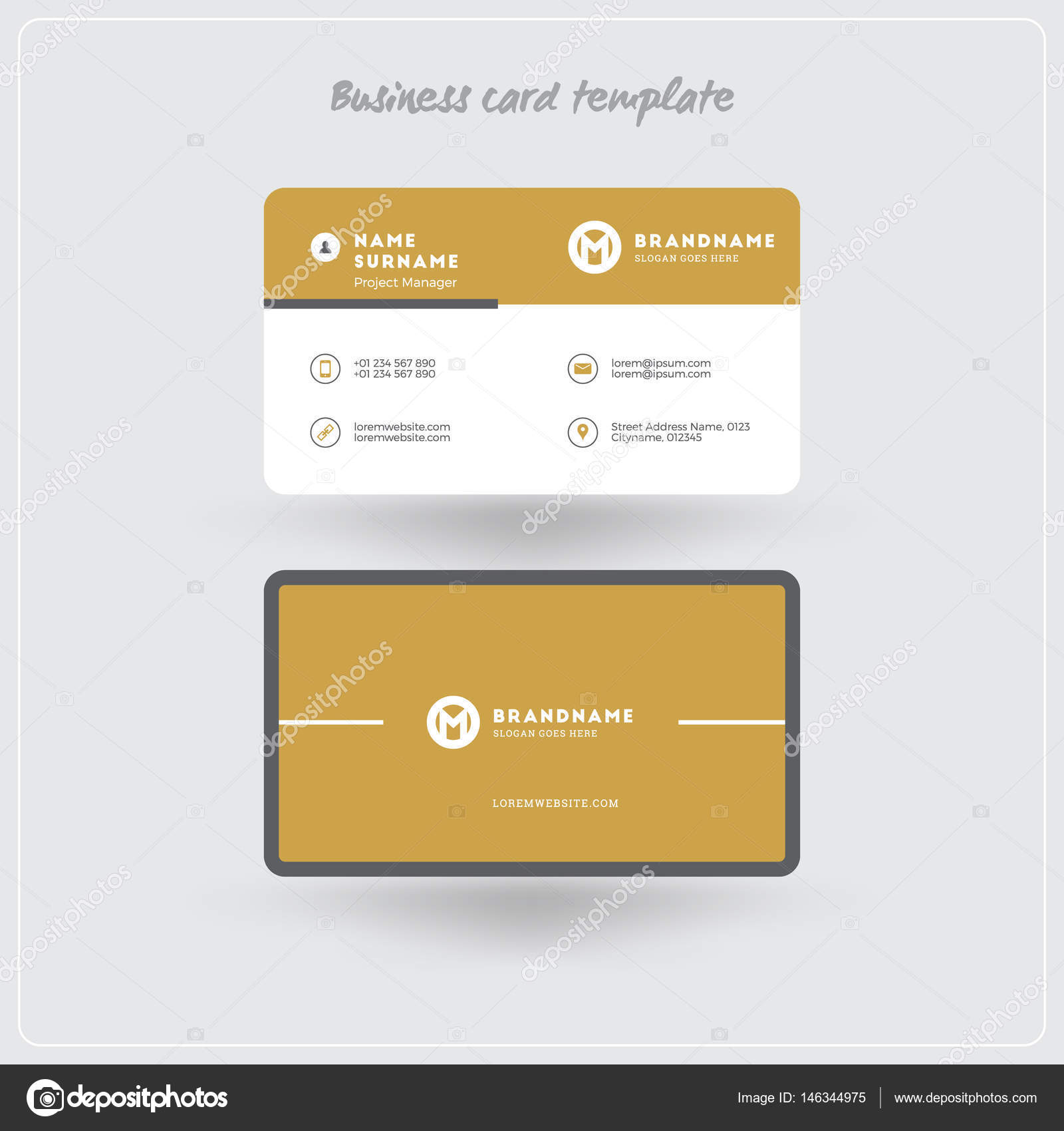 Golden And Gray Business Card Print Template Personal Visiting - Rounded corner business card template