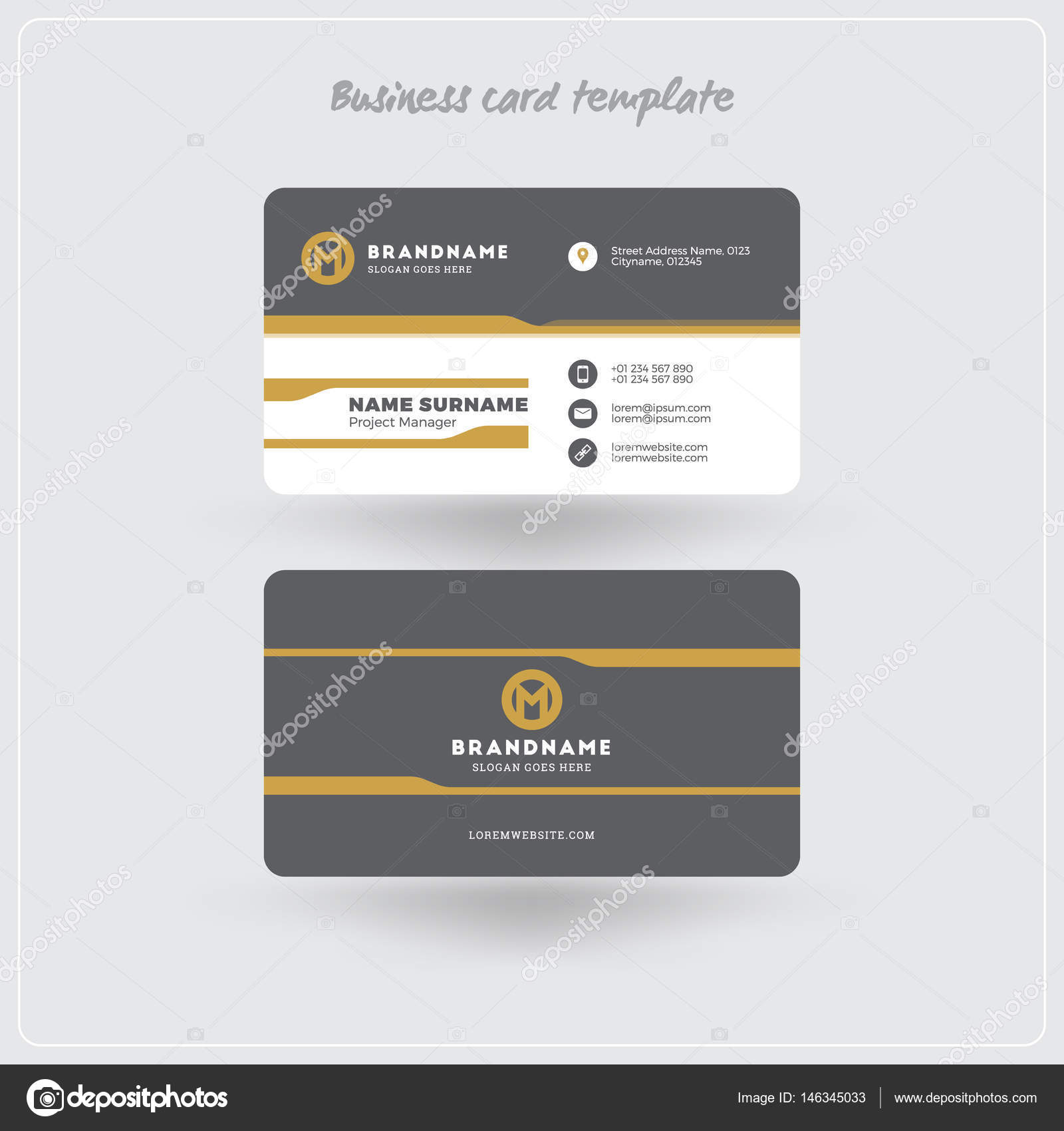 golden and gray business card print template personal visiting card with company logo clean