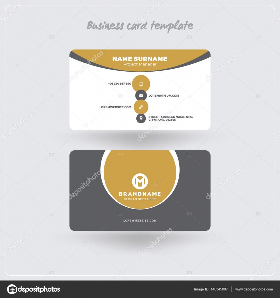Golden and gray business card print template personal visiting card personal visiting card with company logo clean flat design rounded corners vector illustration business card mockup with shadows vector by reheart Image collections