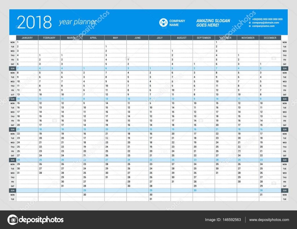 Anual pared plantilla de planificador de calendario para el año 2018 ...