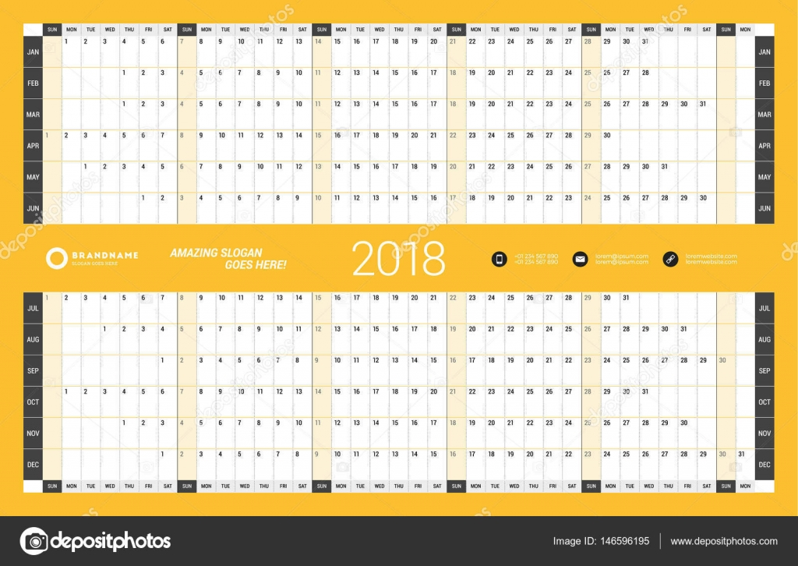 Anual pared plantilla de planificador de calendario para el año 2017 ...