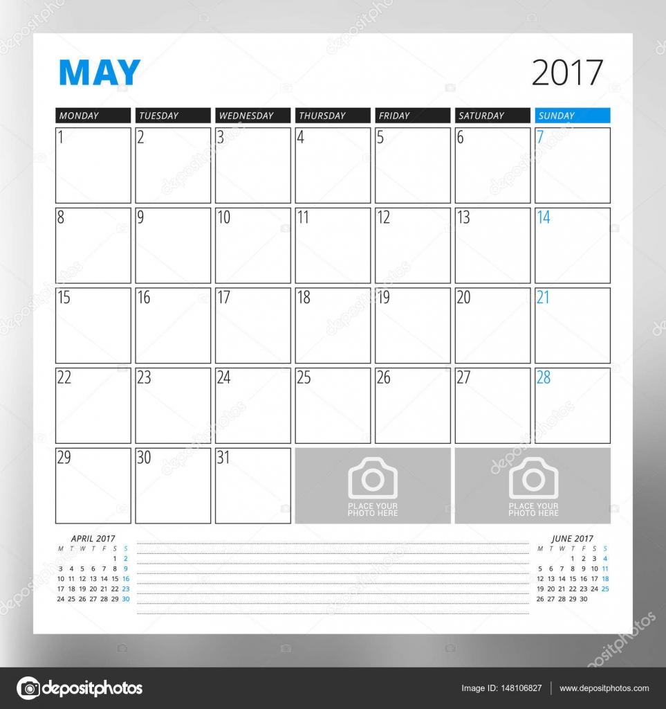 Kalendervorlage für Mai 2017. Woche ab Montag. Print Design-Vorlage ...