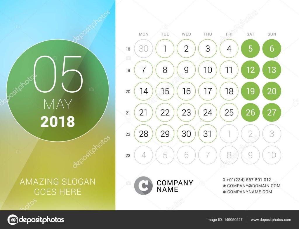 Maggio 2018 calendario da tavolo per anno 2018 modello stampa di disegno vettoriale con posto - Calendari da tavolo con foto ...