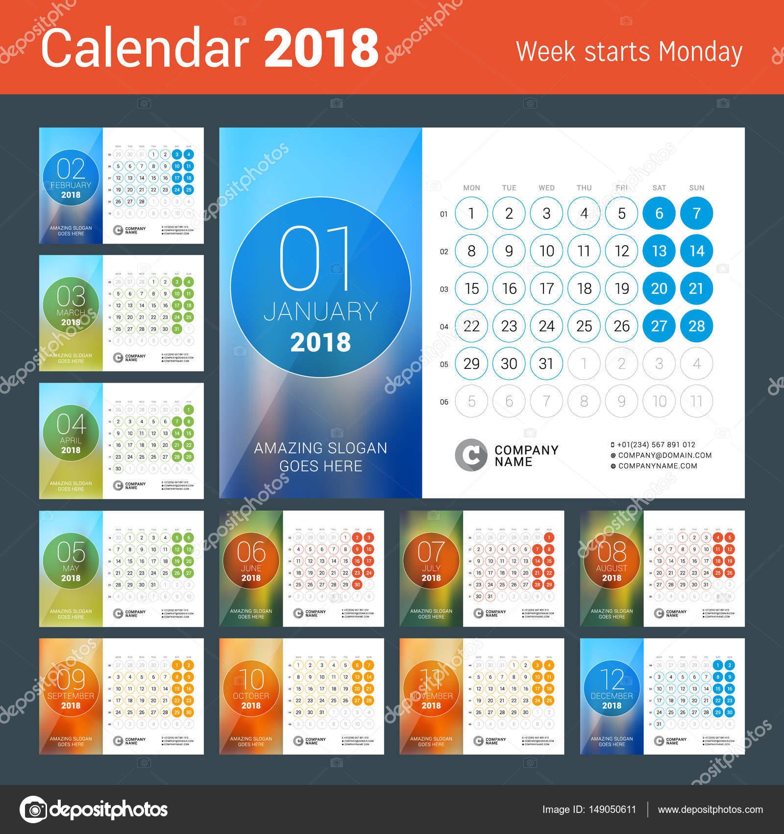 Calendario da tavolo per anno 2018 modello stampa di disegno vettoriale con posto per foto - Calendario da tavolo con foto proprie ...