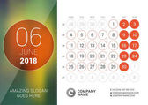Fotografie June 2018. Desk Calendar for 2018 Year. Vector Design Print Template with Place for Photo. Week Starts on Monday. Calendar Grid with Week Numbers
