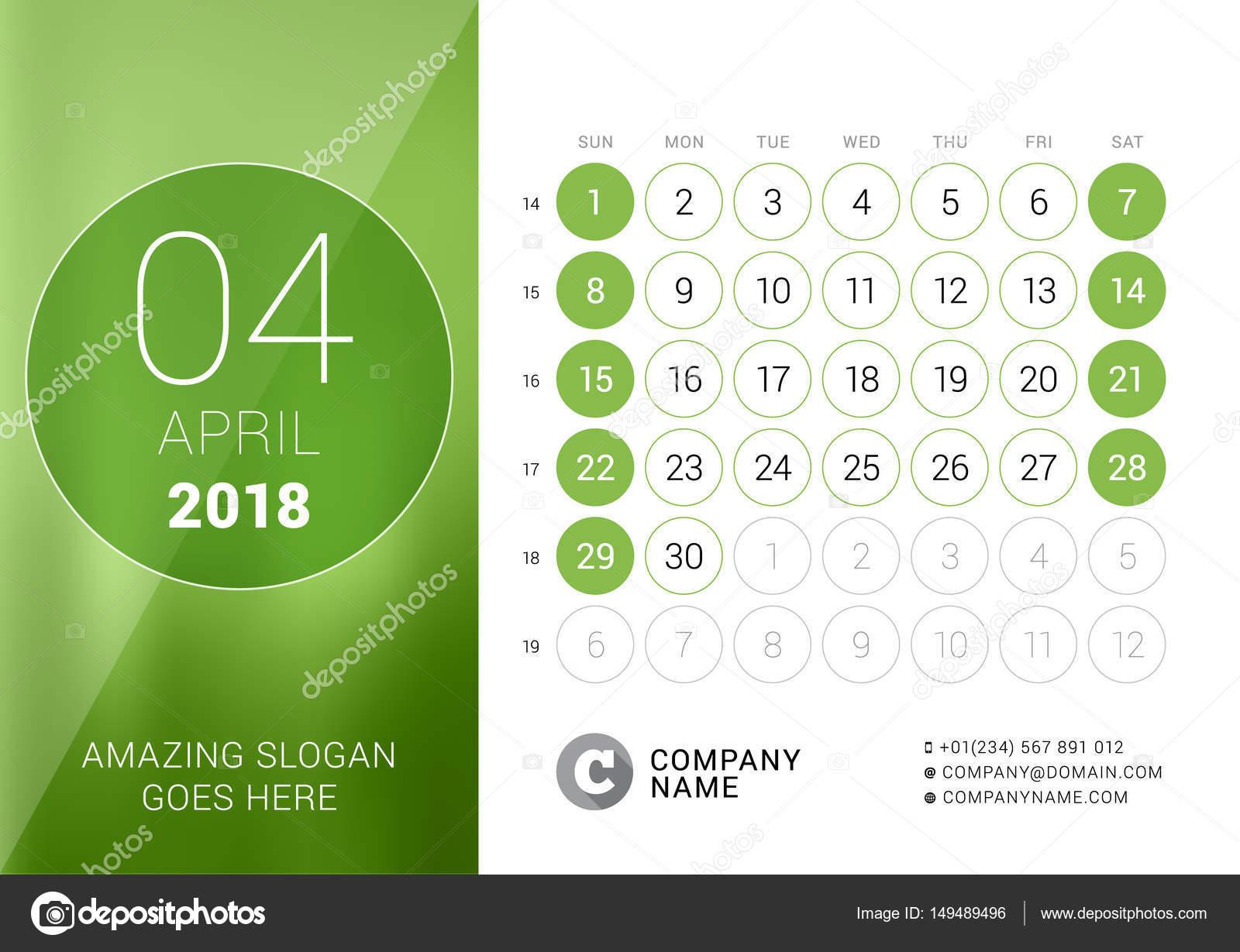 april 2018 desk calendar for 2018 year vector design print