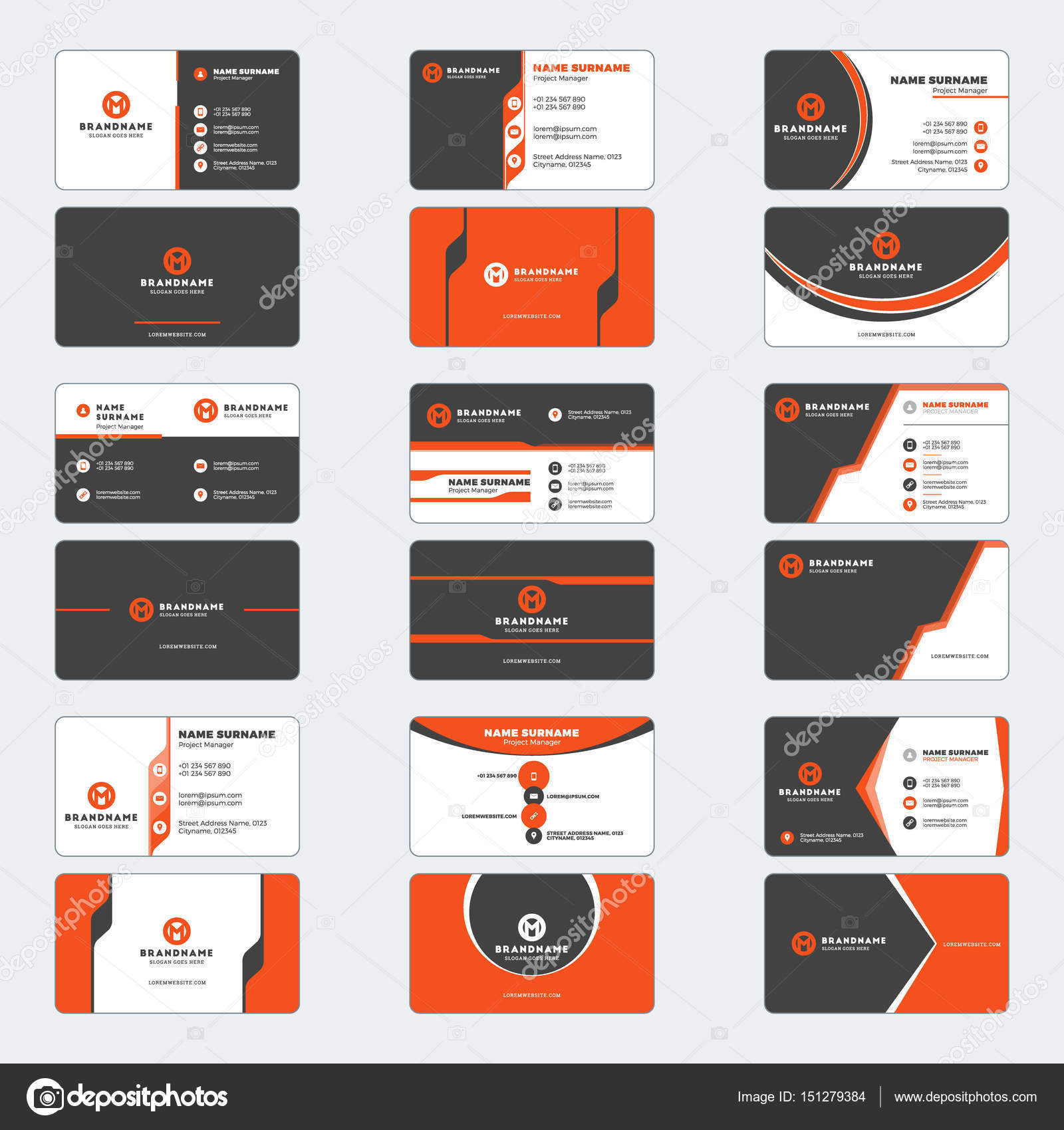 Set of modern business card print templates. Horizontal business ...