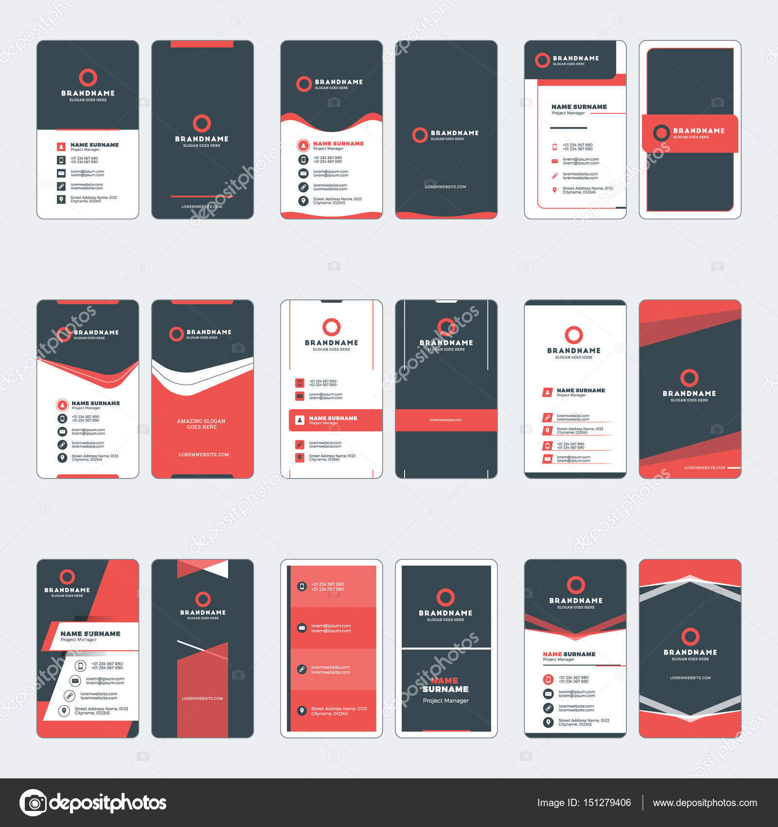 Set of modern business card print templates. Vertical business cards ...