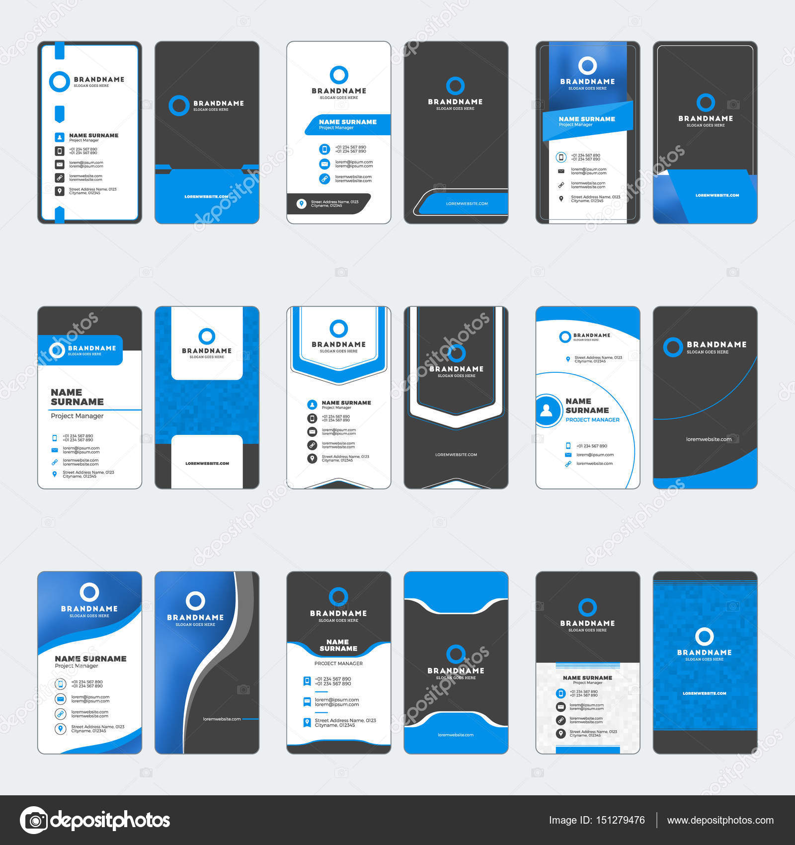 Set of modern business card print templates vertical business cards set of modern business card print templates vertical business cards blue and black colors personal visiting card with company logo vector illustration reheart Images
