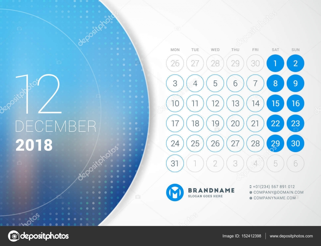December 2018 Desk Calendar for 2018 Year Vector Design Print Template with Place for