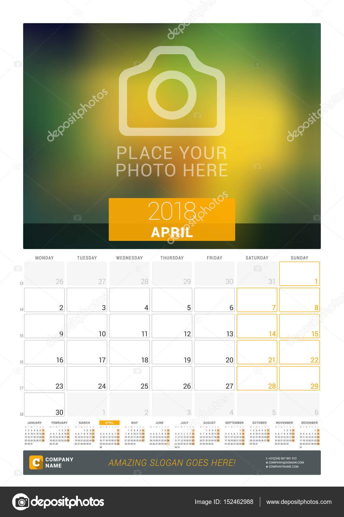 April 2018. Wand-Monatskalender für das Jahr 2018. Vector Design ...