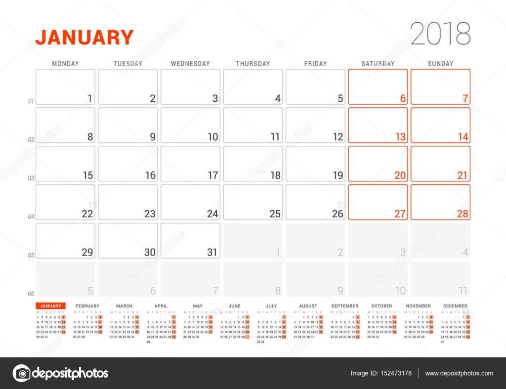 Calendar template for 2018 year january business planner with year calendar template for 2018 year january business planner with year calendar stationery design wajeb Images