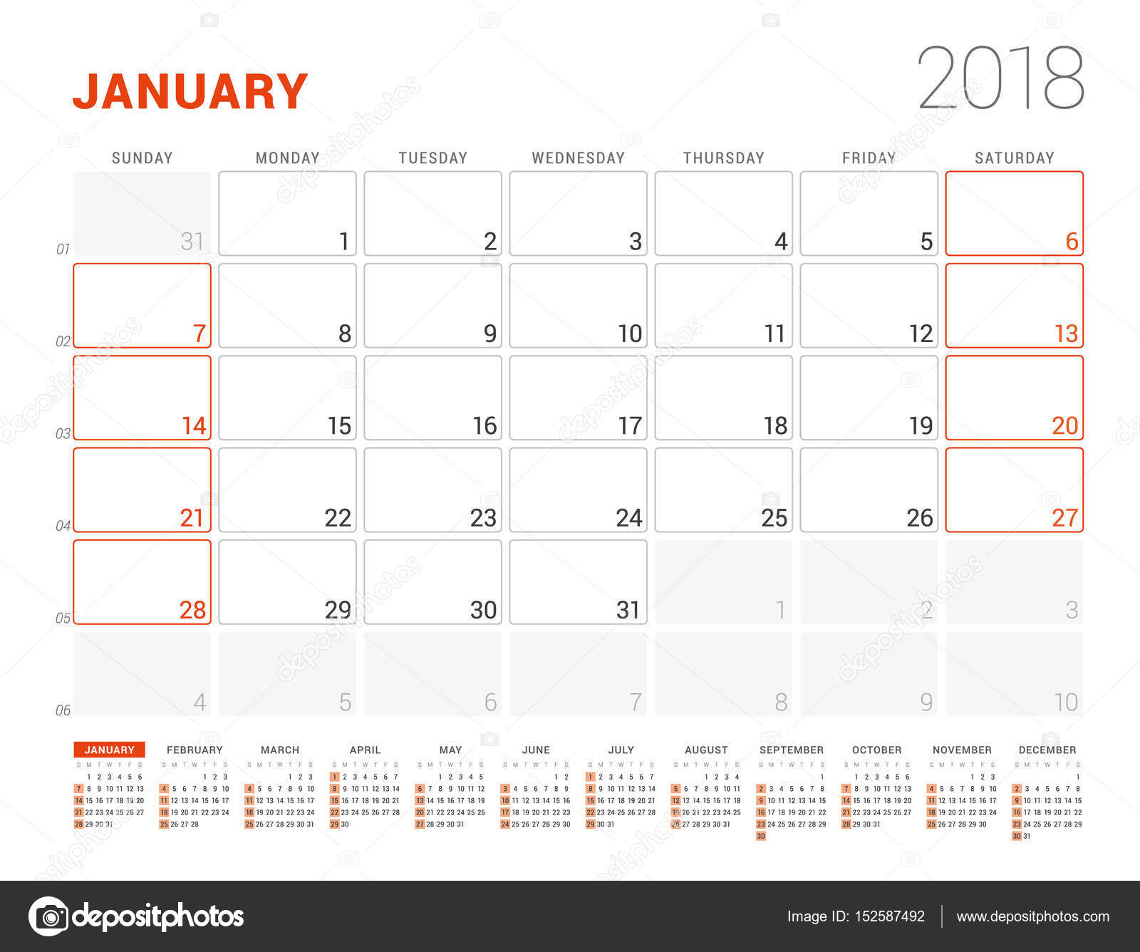 Calendar Template For 2018 Year January Business Planner With Year