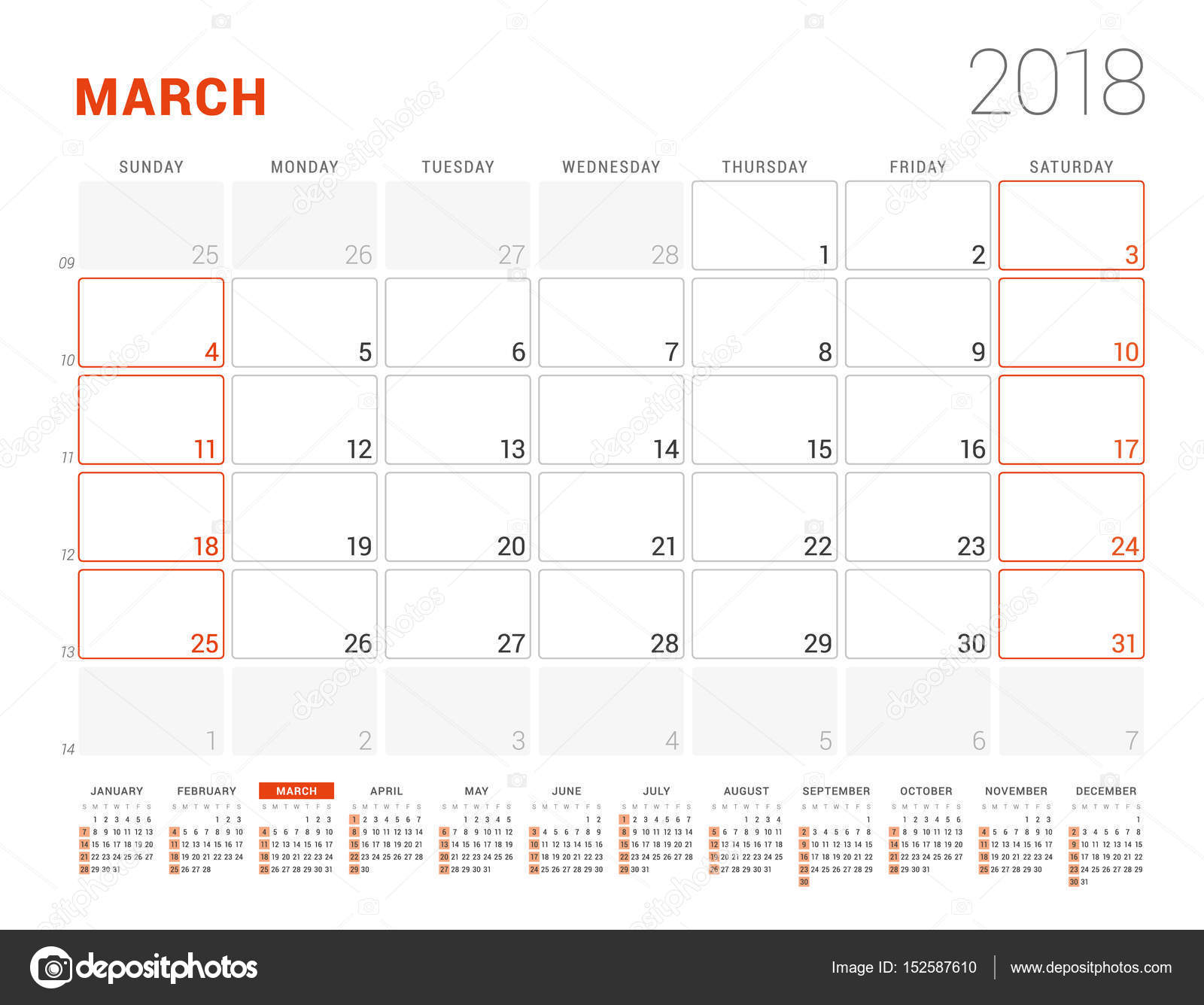 Calendar template for 2018 year march business planner with year calendar template for 2018 year march business planner with year calendar stationery design flashek Image collections