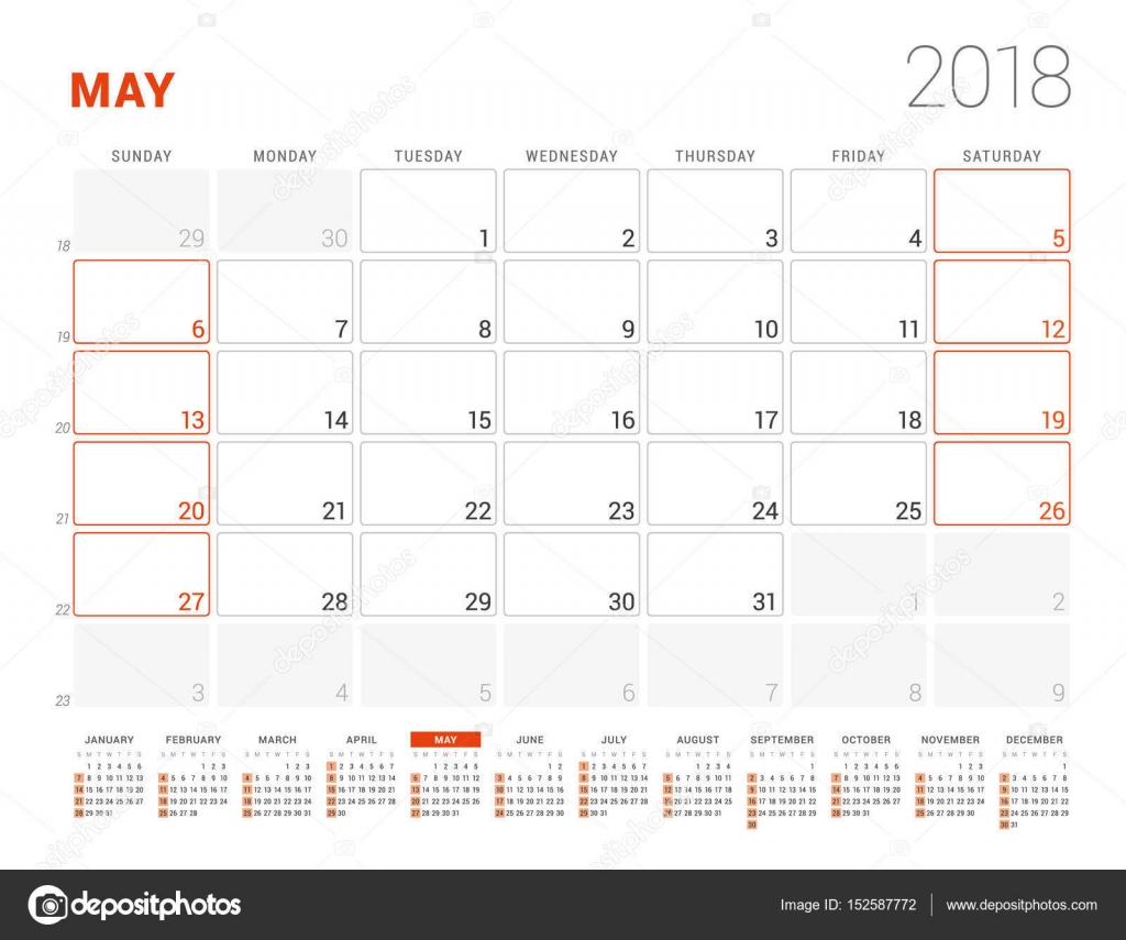 Calendar template for 2018 year may business planner with year calendar template for 2018 year may business planner with year calendar stationery design accmission Image collections