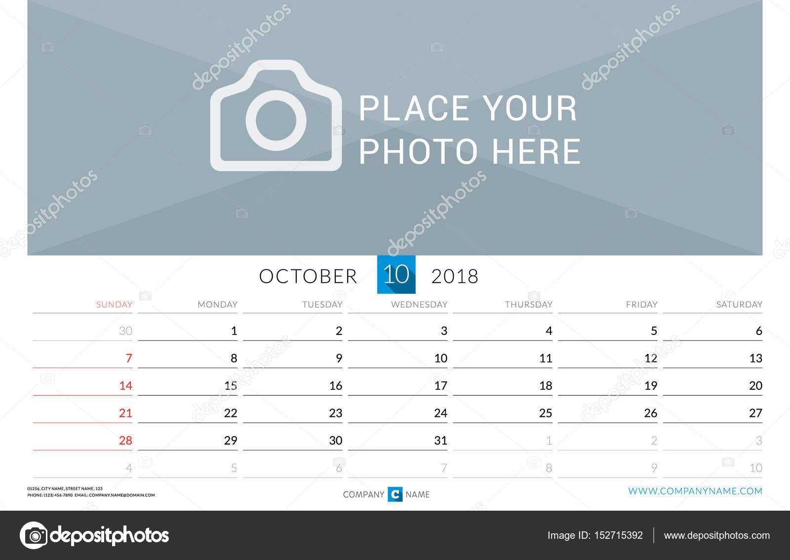 Oktober 2018. Wand-Monatskalender für das Jahr 2018. Vector Design ...