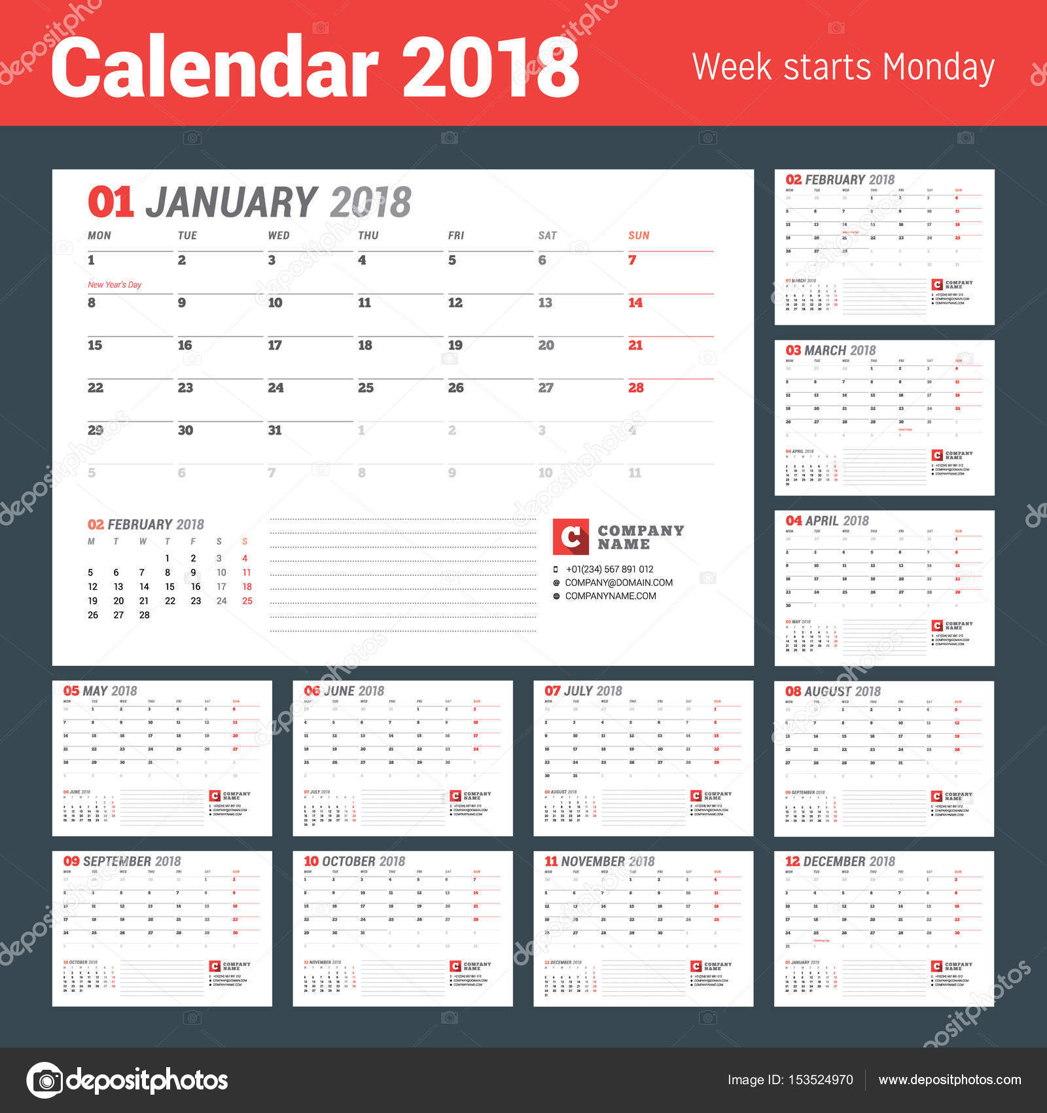 Kalendervorlage für 2017 Jahr. Business Planner. Briefpapier Design ...