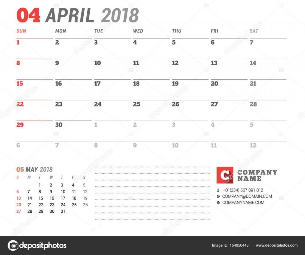 Kalendervorlage für 2018 Jahr. April. Business-Planer-Vorlage ...