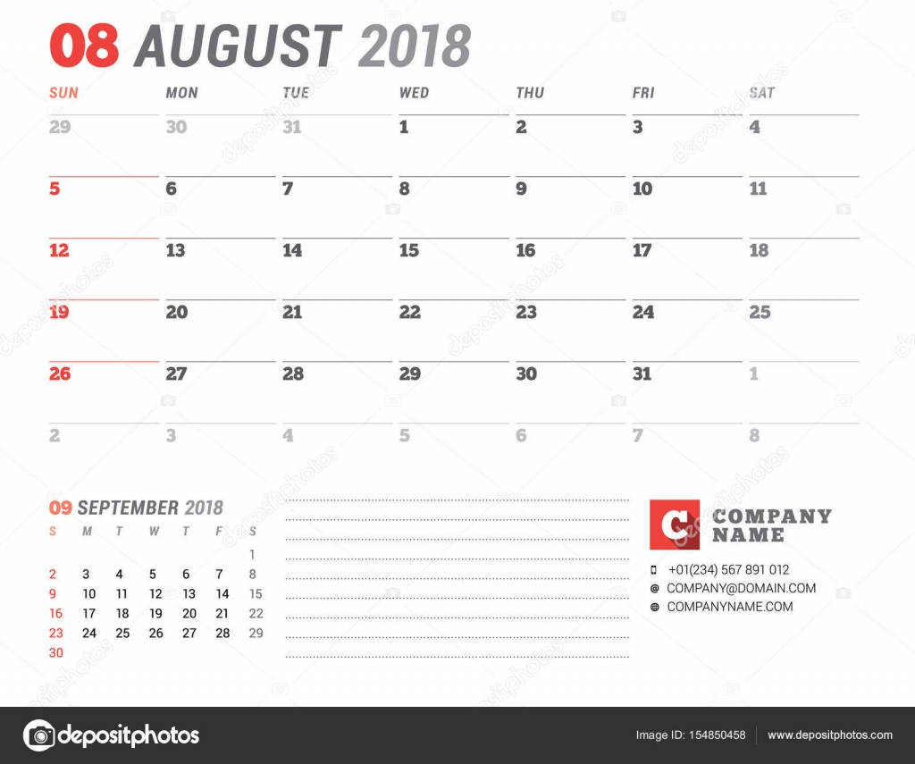 Kalendervorlage für 2018 Jahr. August. Business-Planer-Vorlage ...