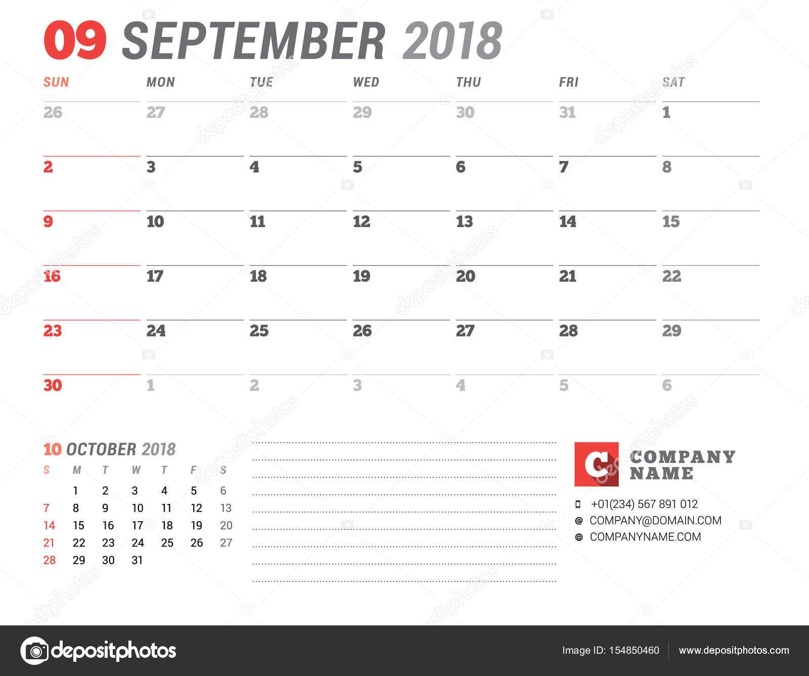 Plantilla de calendario para el año 2018. Septiembre. Plantilla de ...