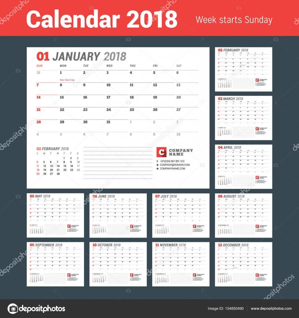 Kalendervorlage für 2018 Jahr. Business-Planer-Vorlage. Briefpapier ...
