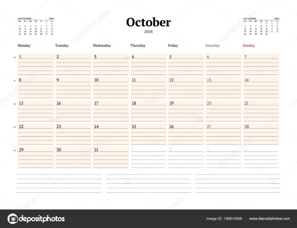Vektor-Planer Kalendervorlage für 2018 Jahr. Oktober. Briefpapier ...