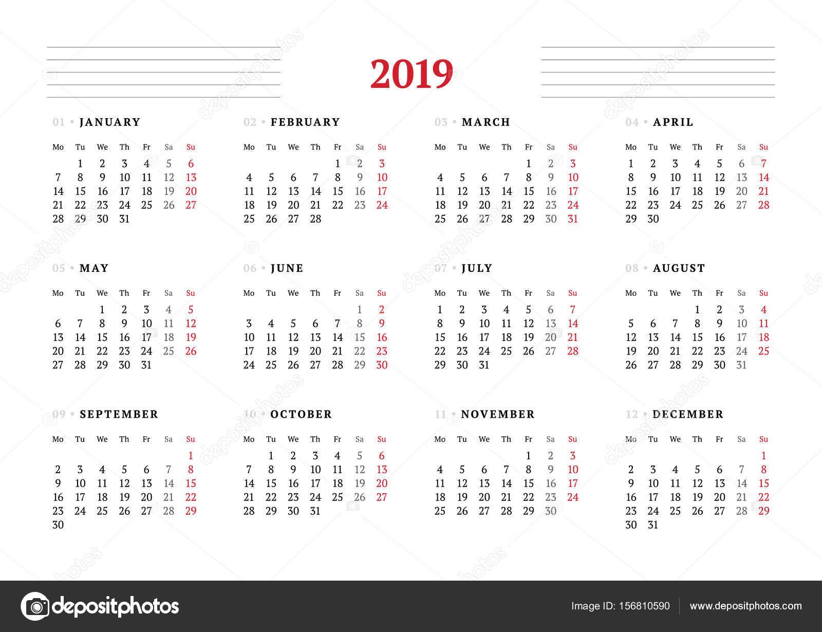 2019 évi naptár letölthető Naptár 2019 évre fehér háttér. Vector design nyomtatási sablon  2019 évi naptár letölthető