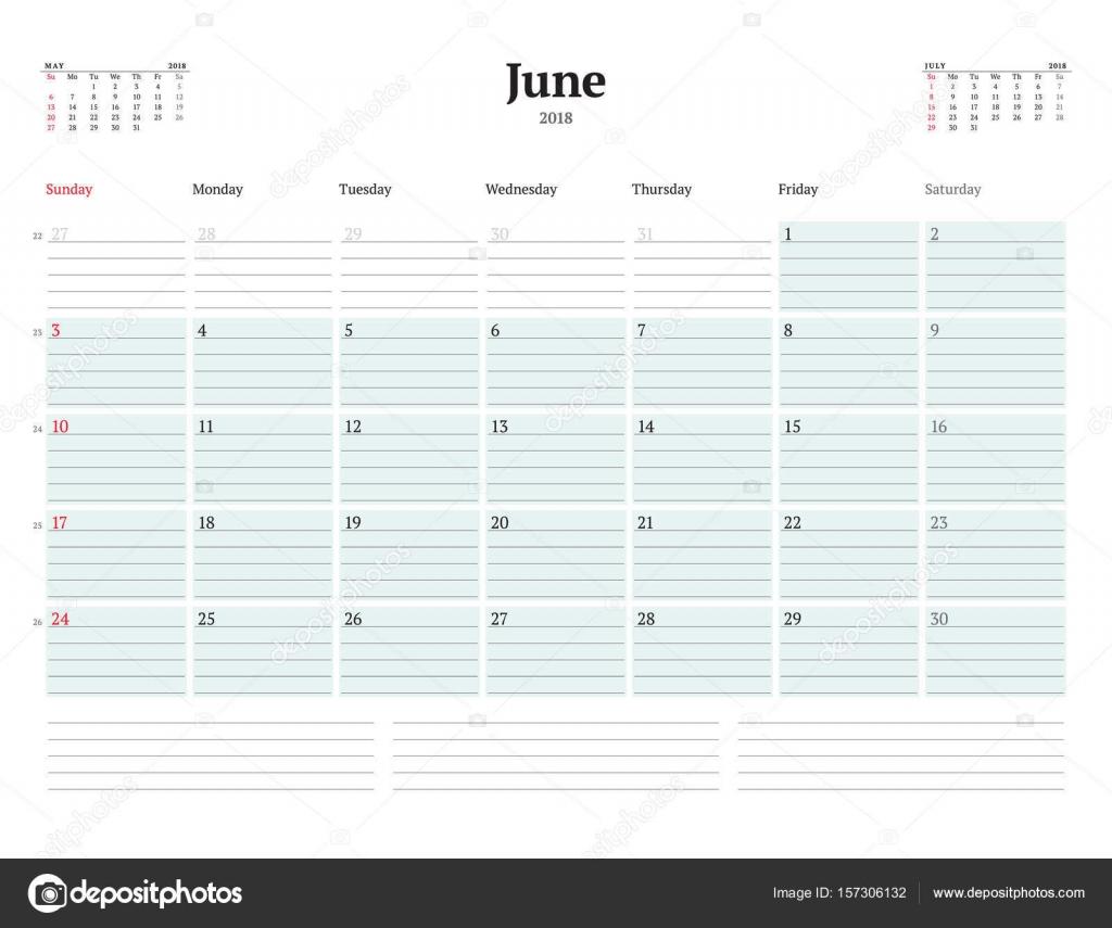 Vektor-Planer Kalendervorlage für 2018 Jahr. Juni. Briefpapier ...