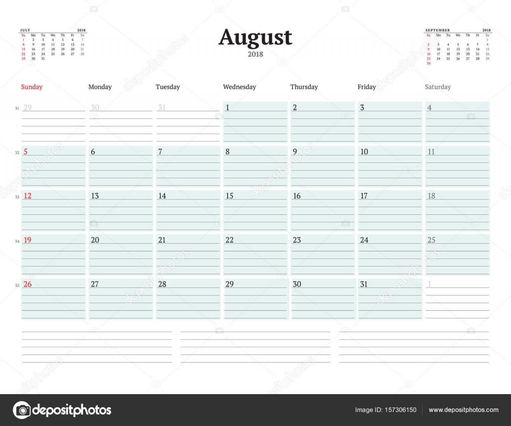 Vektor-Planer Kalendervorlage für 2018 Jahr. August. Briefpapier ...