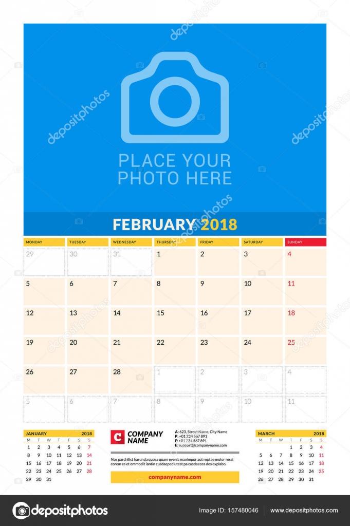 Vektor-Planer-Kalendervorlage für 2018 Jahr monatlich. Februar ...