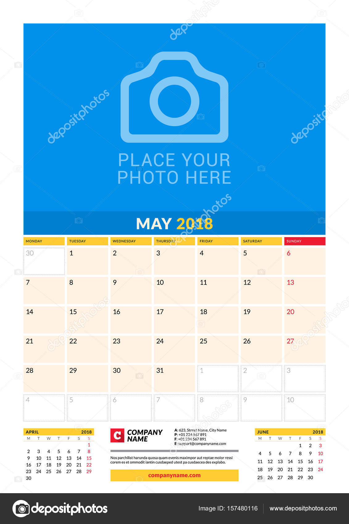 Vector monthly calendar planner template for 2018 year may vector design print template with place for photo week starts on monday 3 months on page