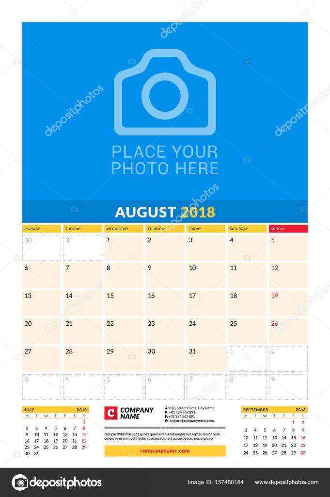 Vektor-Planer-Kalendervorlage für 2018 Jahr monatlich. August ...
