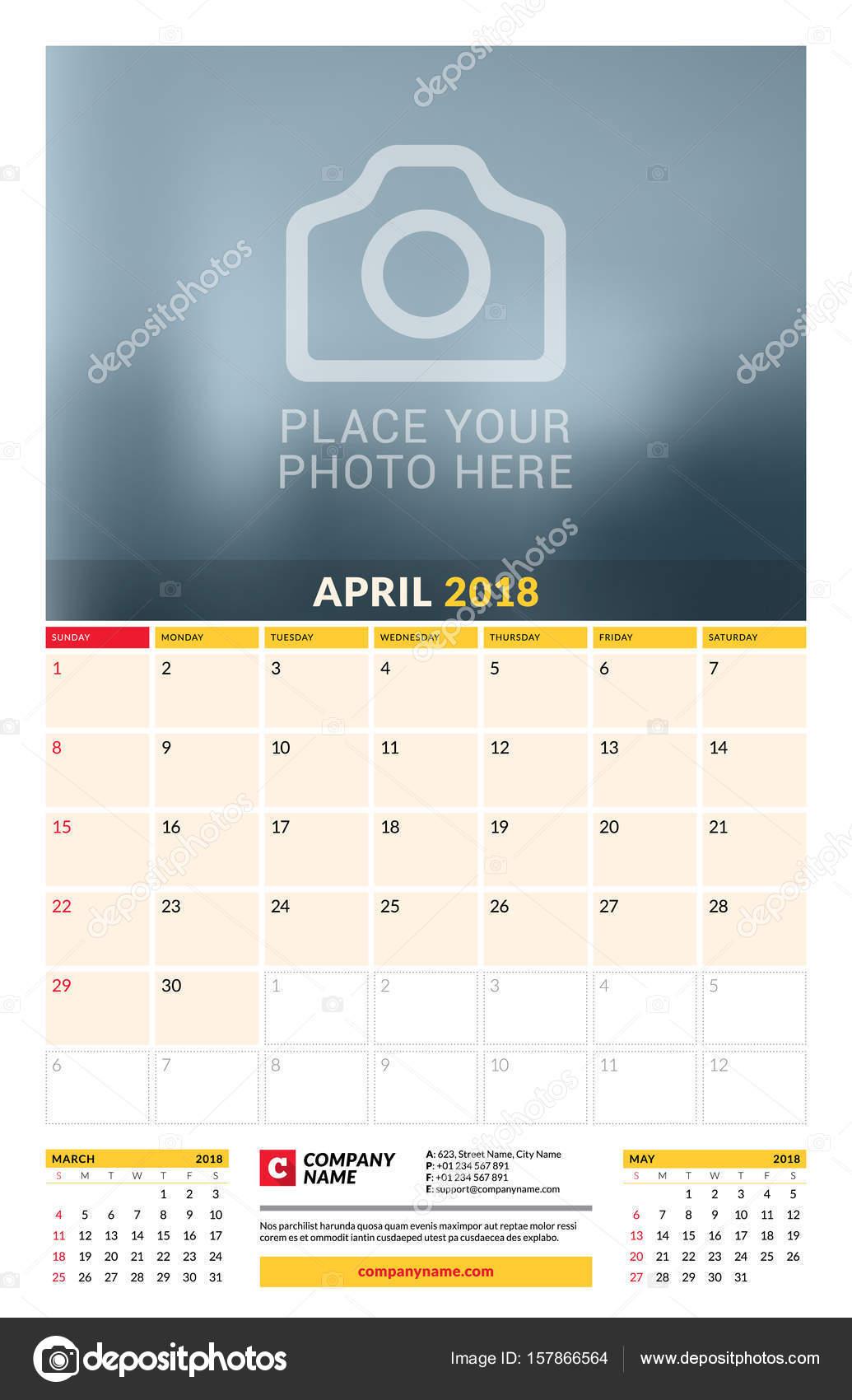 vector calendar planner template for 2018 year april vector design
