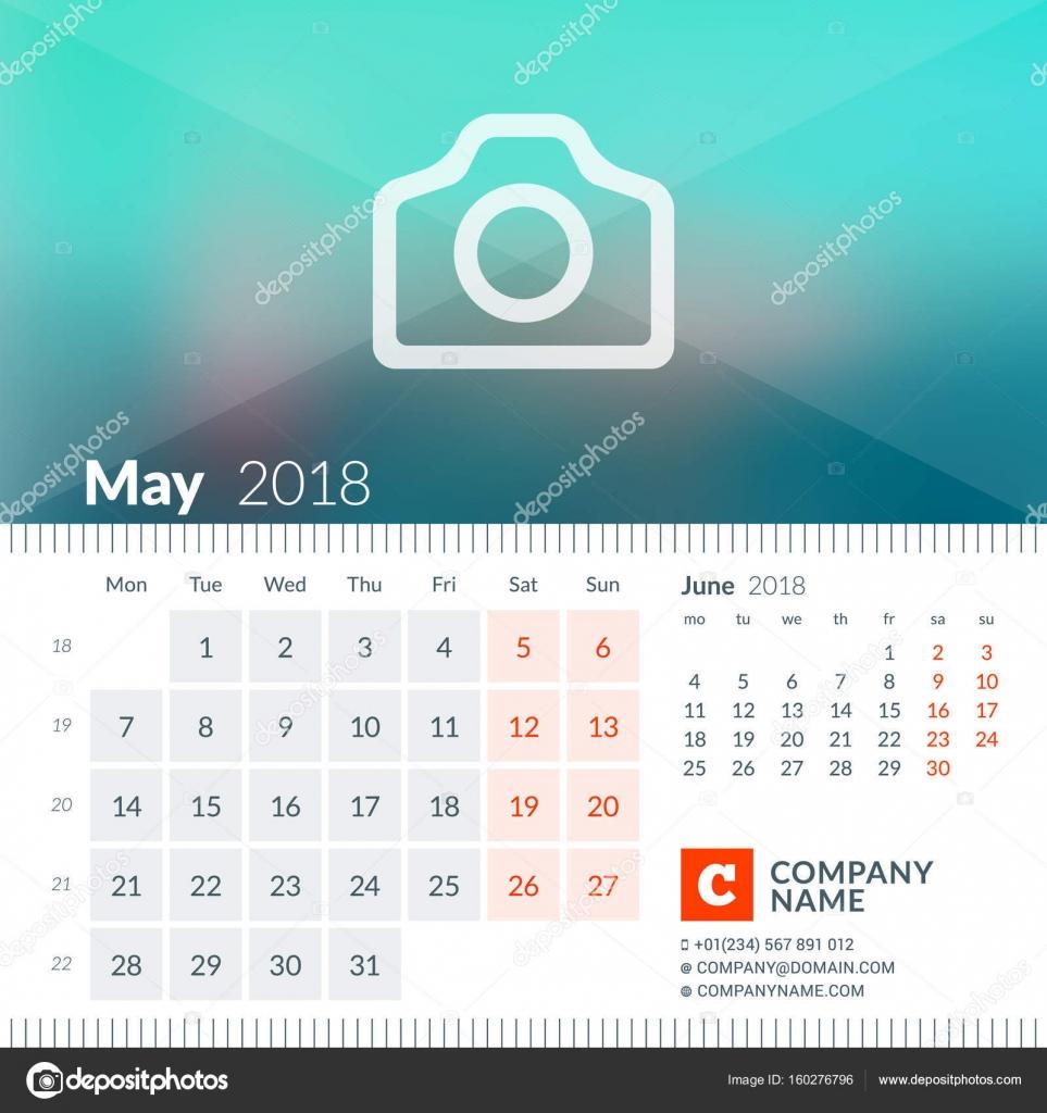 Mayo de 2018. Calendario para el año 2018. La semana comienza el ...