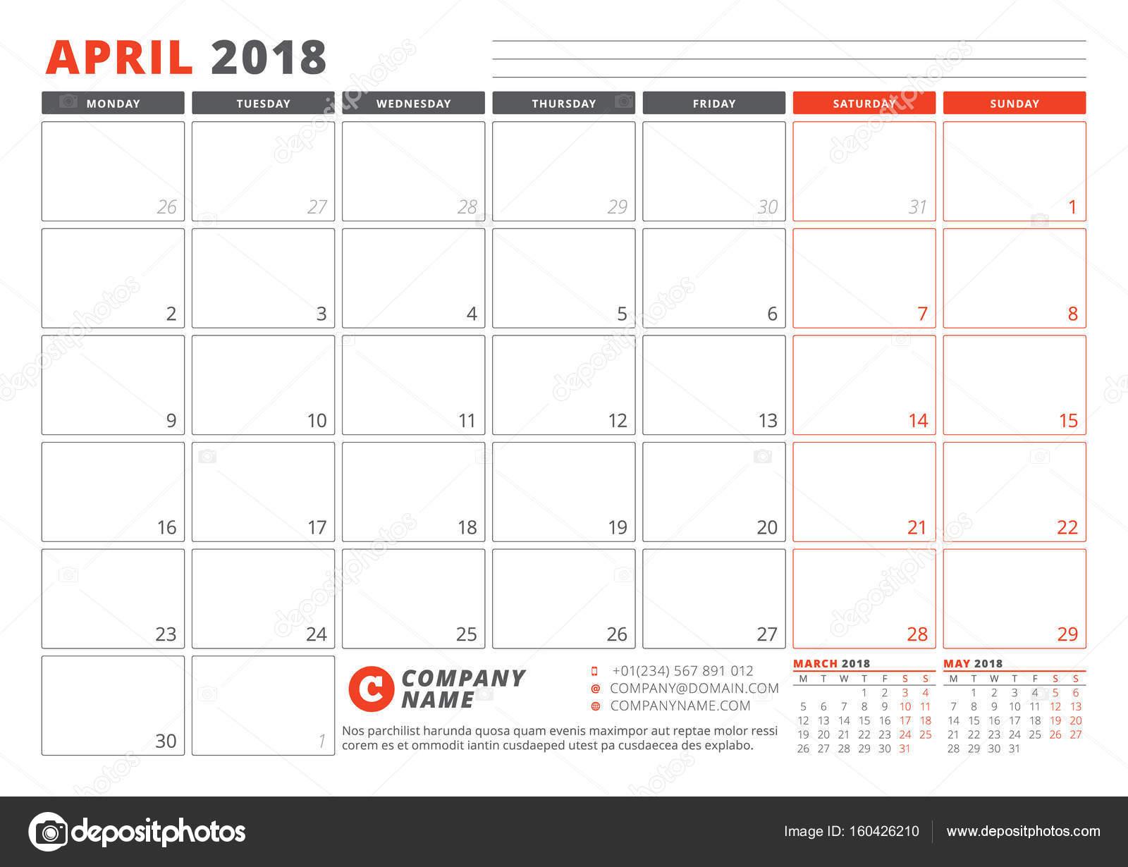 Kalendervorlage für 2018 Jahr. April. Business Planner-2018 ...