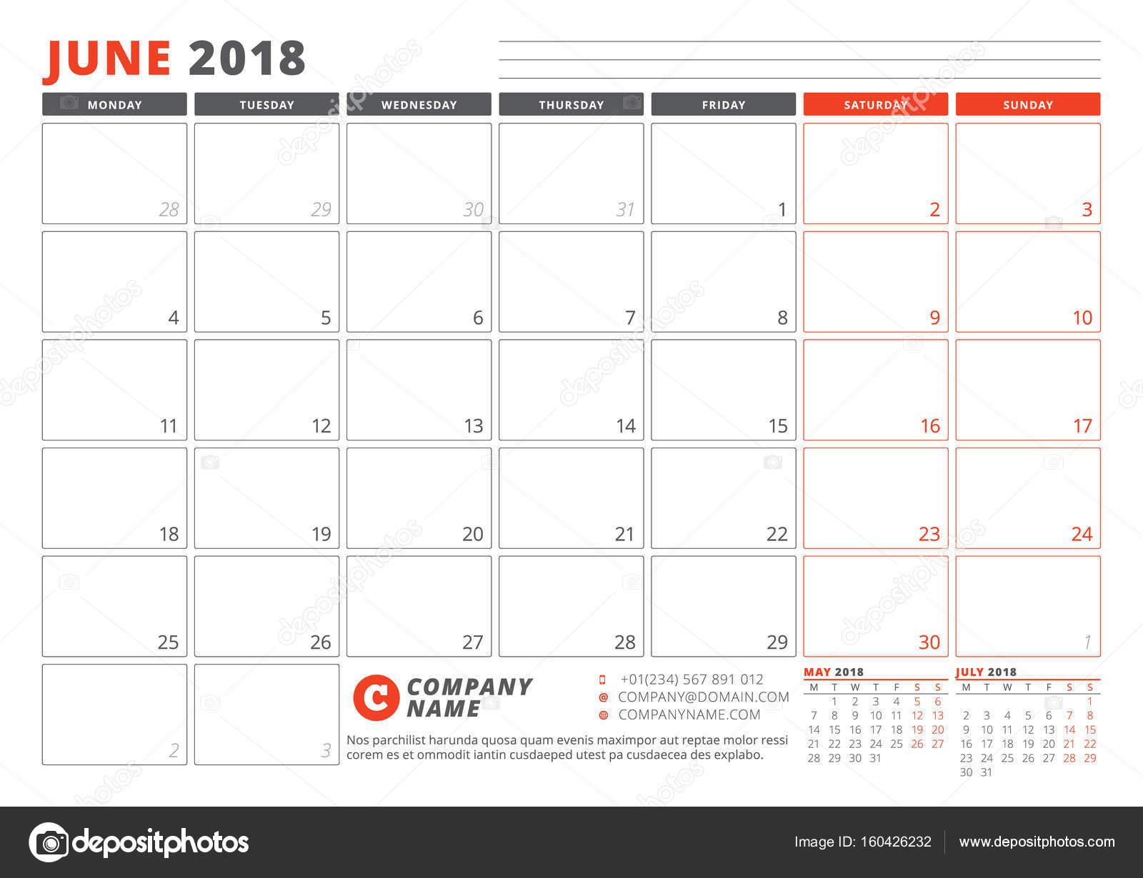 Kalendervorlage für 2018 Jahr. Juni. Business Planner-2018-Vorlage ...