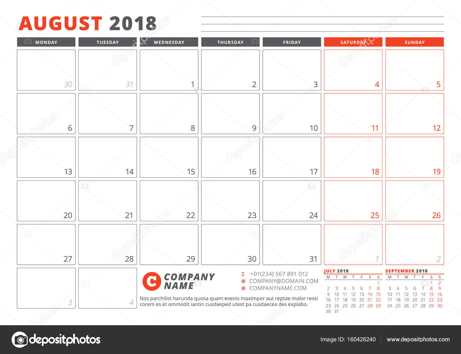 Calendar Template for 2018 Year. August. Business Planner 2018 ...