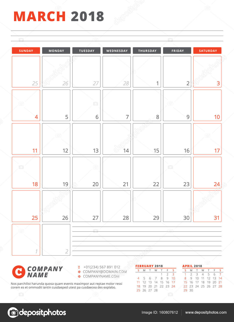 Kalendervorlage für 2018 Jahr. März. Business Planner-2018-Vorlage ...