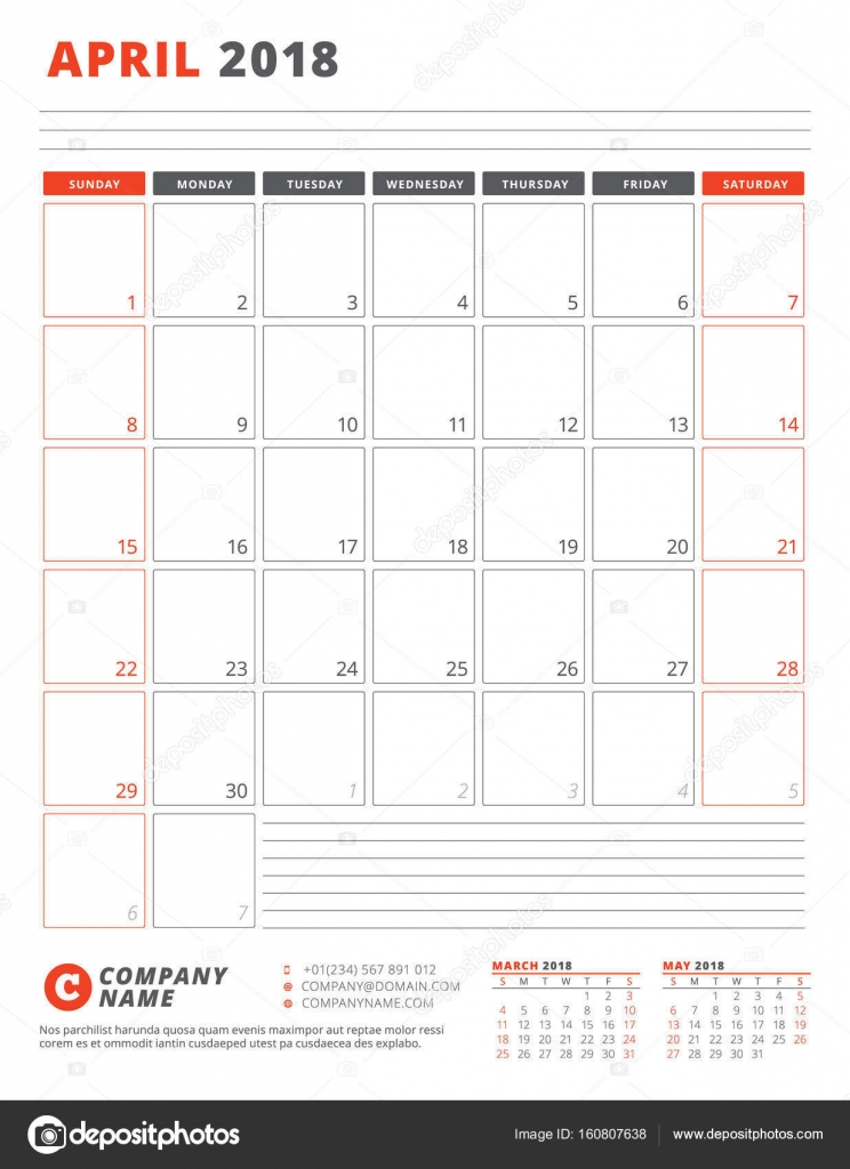 Kalendervorlage für 2018 Jahr. April. Business Planner-2018-Vorlage ...