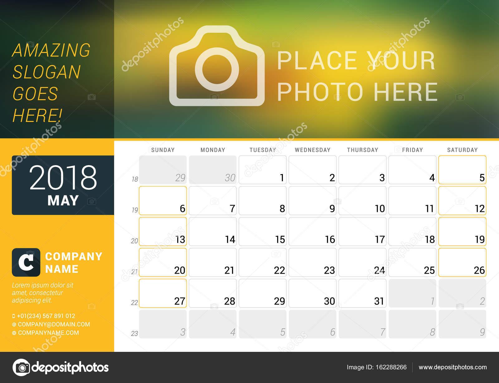 Calendario Con Numero Settimane.Calendario Planner Per Maggio 2018 Modello Di Disegno Di