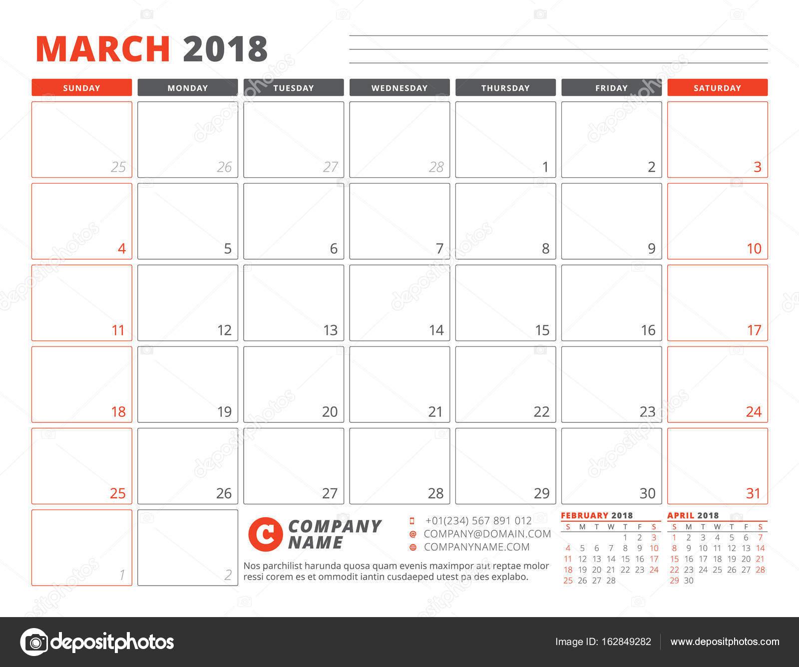 Planer-Kalendervorlage für März 2018. Business-Planer-Vorlage ...