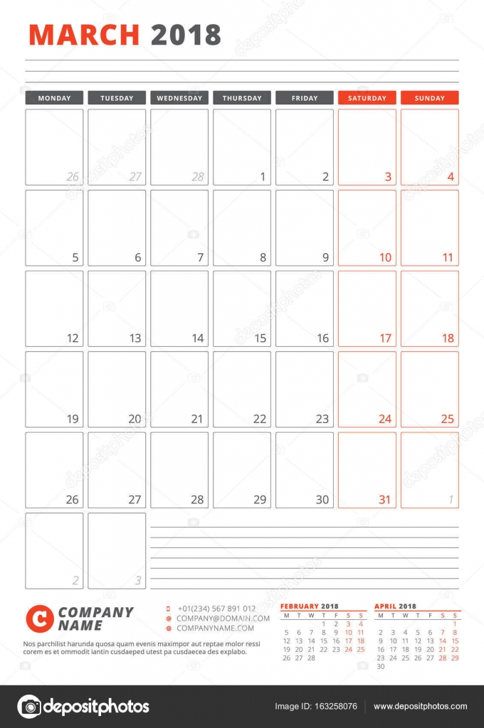 Calendar Template for March 2018. Business Planner 2018 Template ...