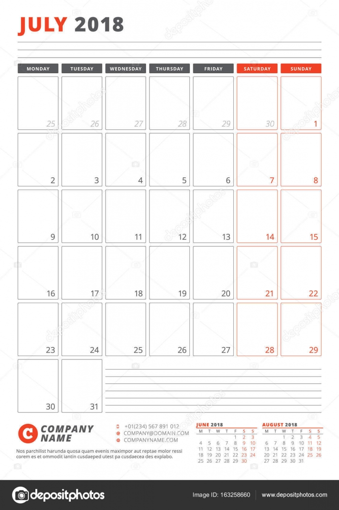 Calendar Template For July 2018 Business Planner 2018 Template
