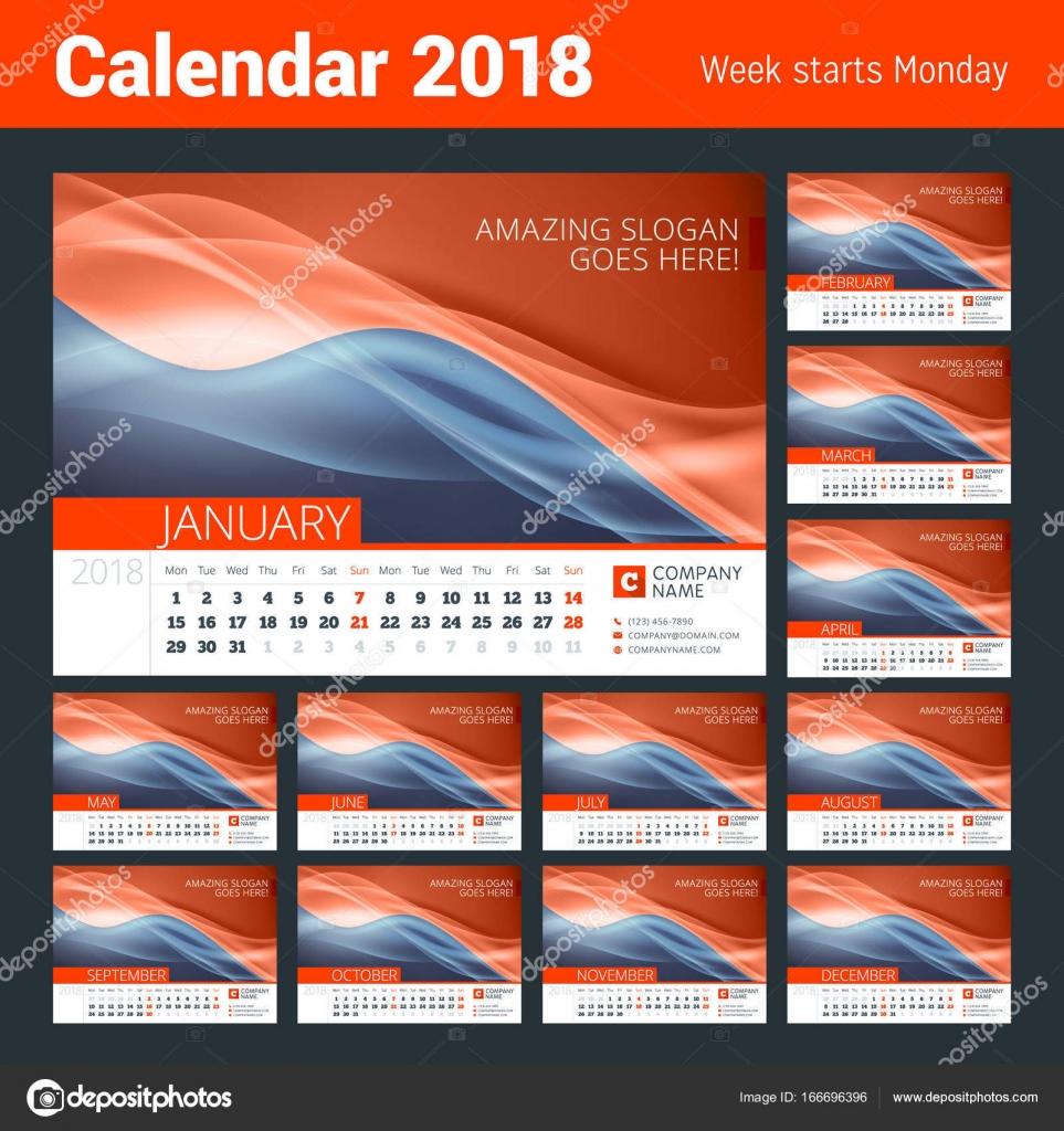Calendario de la línea de escritorio para el año 2018. Vector diseño ...