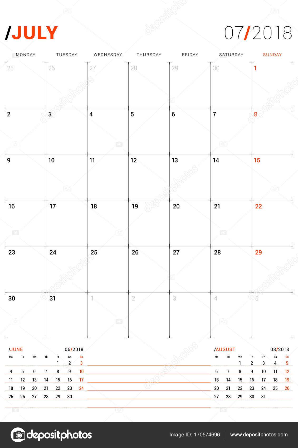 Juillet 2018 Modele D Impression Vector Planificateur De